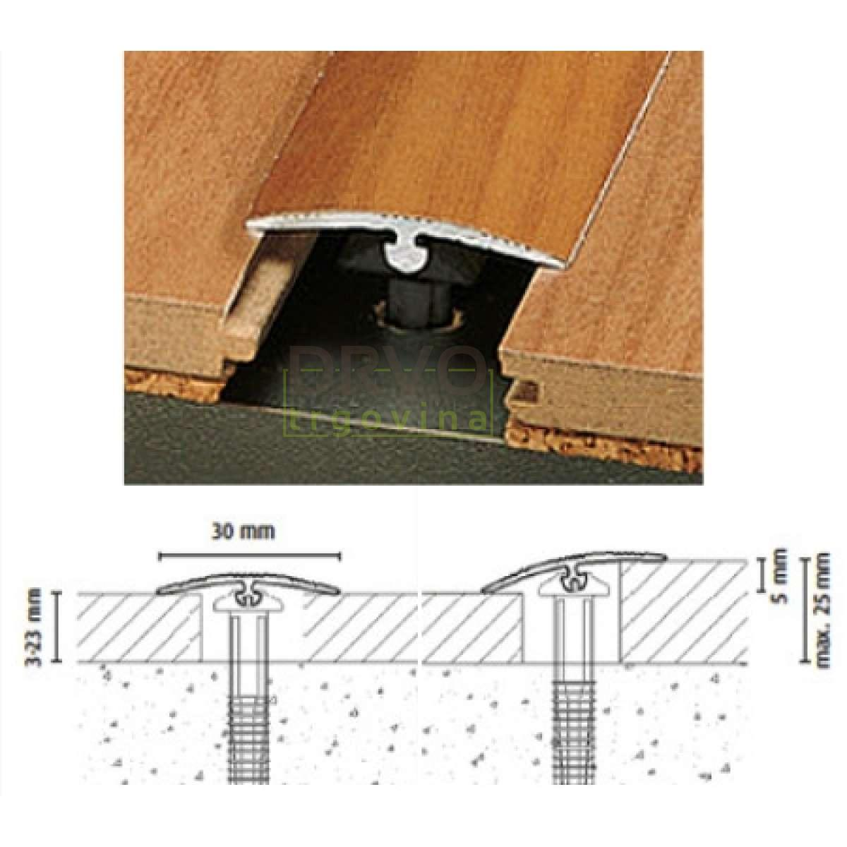 ALU PROFIL DOWEL-FIX 6x 90/ZLATNI PRIJELAZNI DO 40mm